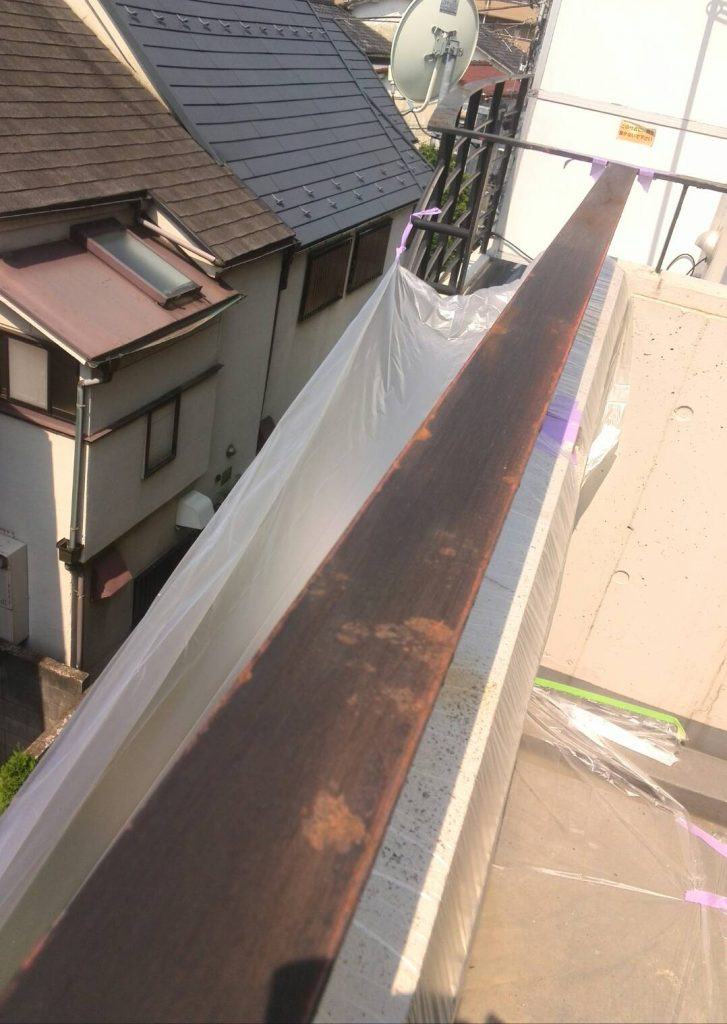 品川区 エアコン吊り台手すり塗装工事
