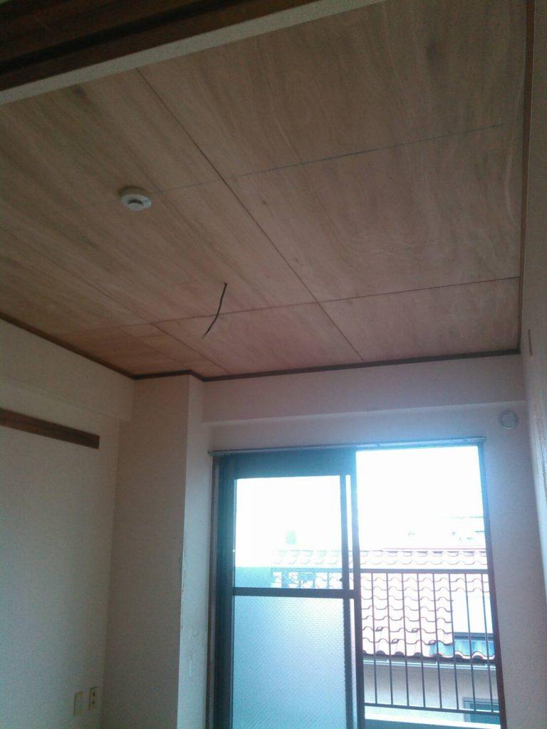 川崎市中原区 和室天井ベニヤ張り工事